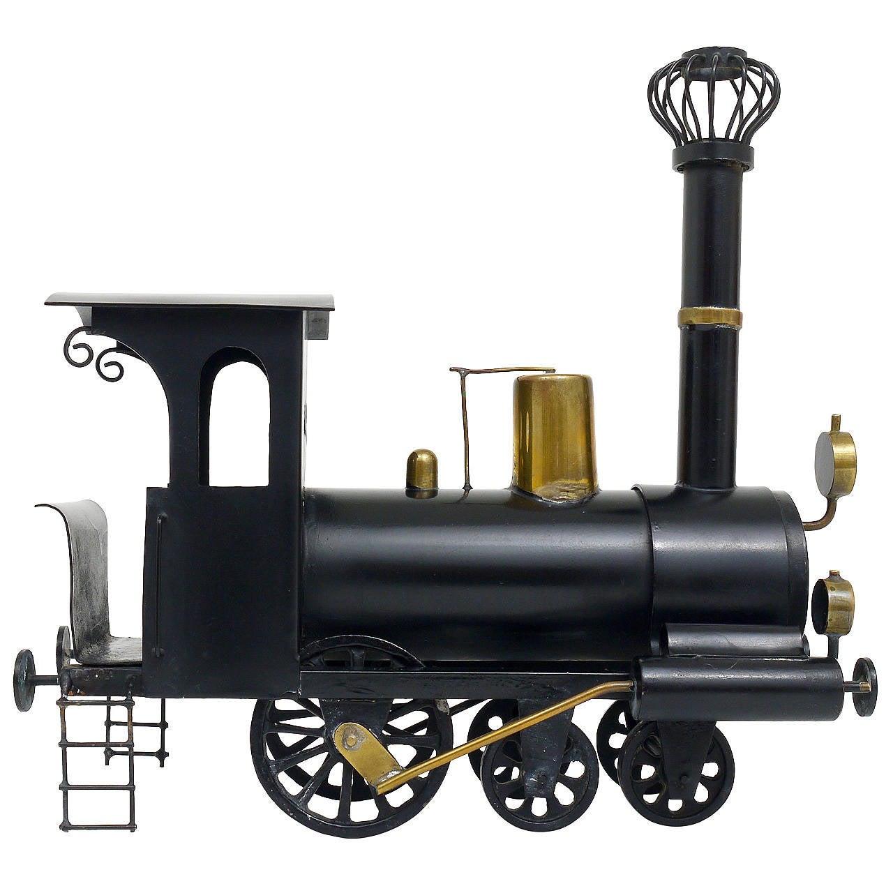 Rare WHW Hagenauer Brass Locomotive Steam Engine, Austria, 1920s