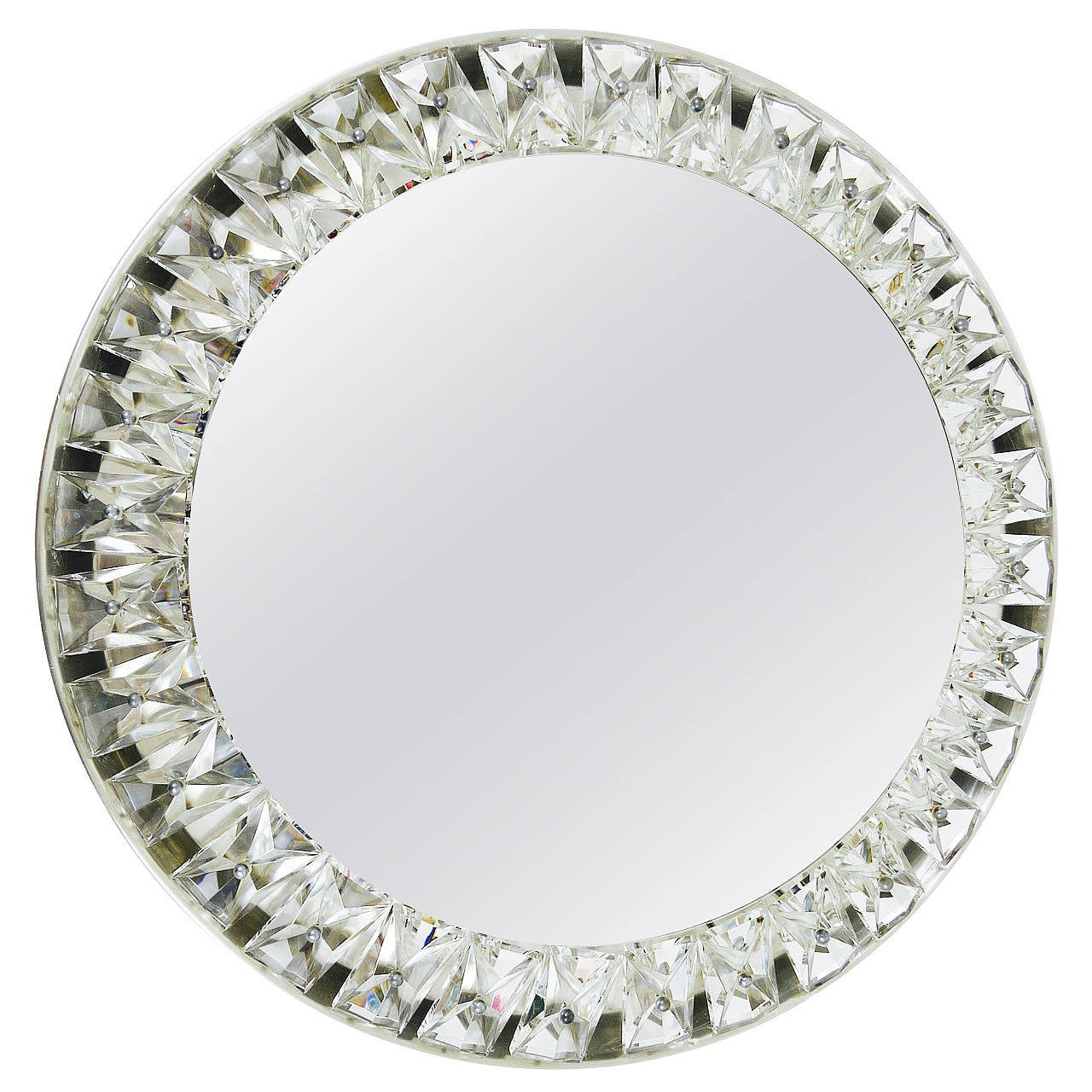 Big round bakalowits backlit wall mirror with huge for Big circle mirror