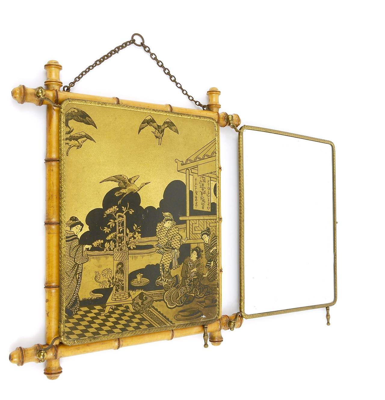 French Faux Bamboo And Brass Triple Vanity Table Mirror Or