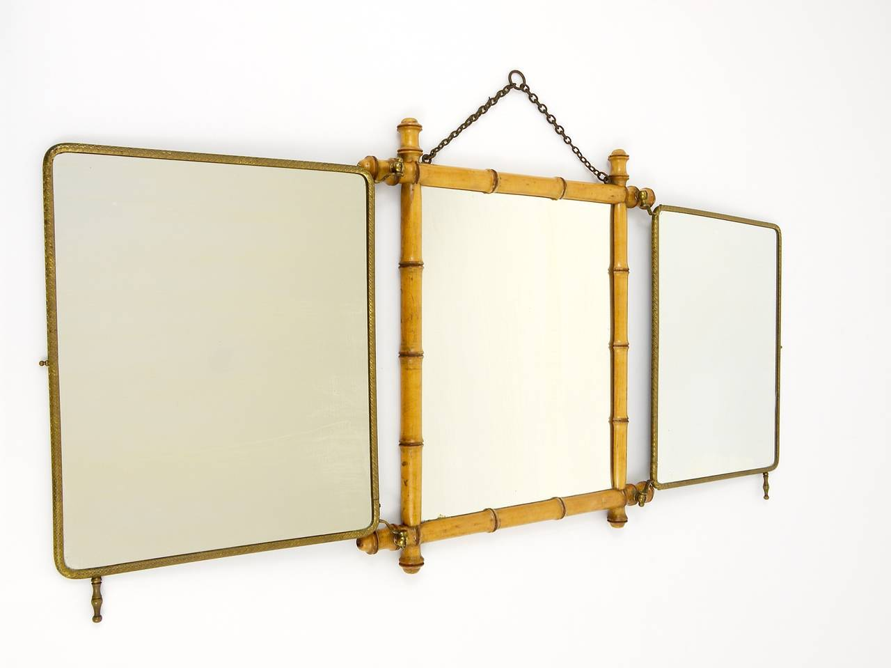 French faux bamboo and brass triple vanity table mirror or for Wall table with mirror