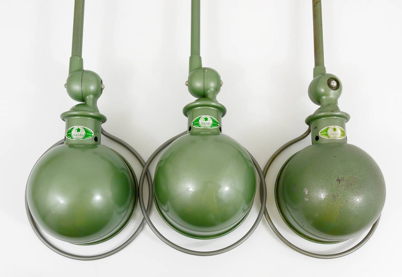 Metal Two Matching Jean Louis Domecq for Jielde Lyon Industrial Clamp Lamps, 1950s For Sale