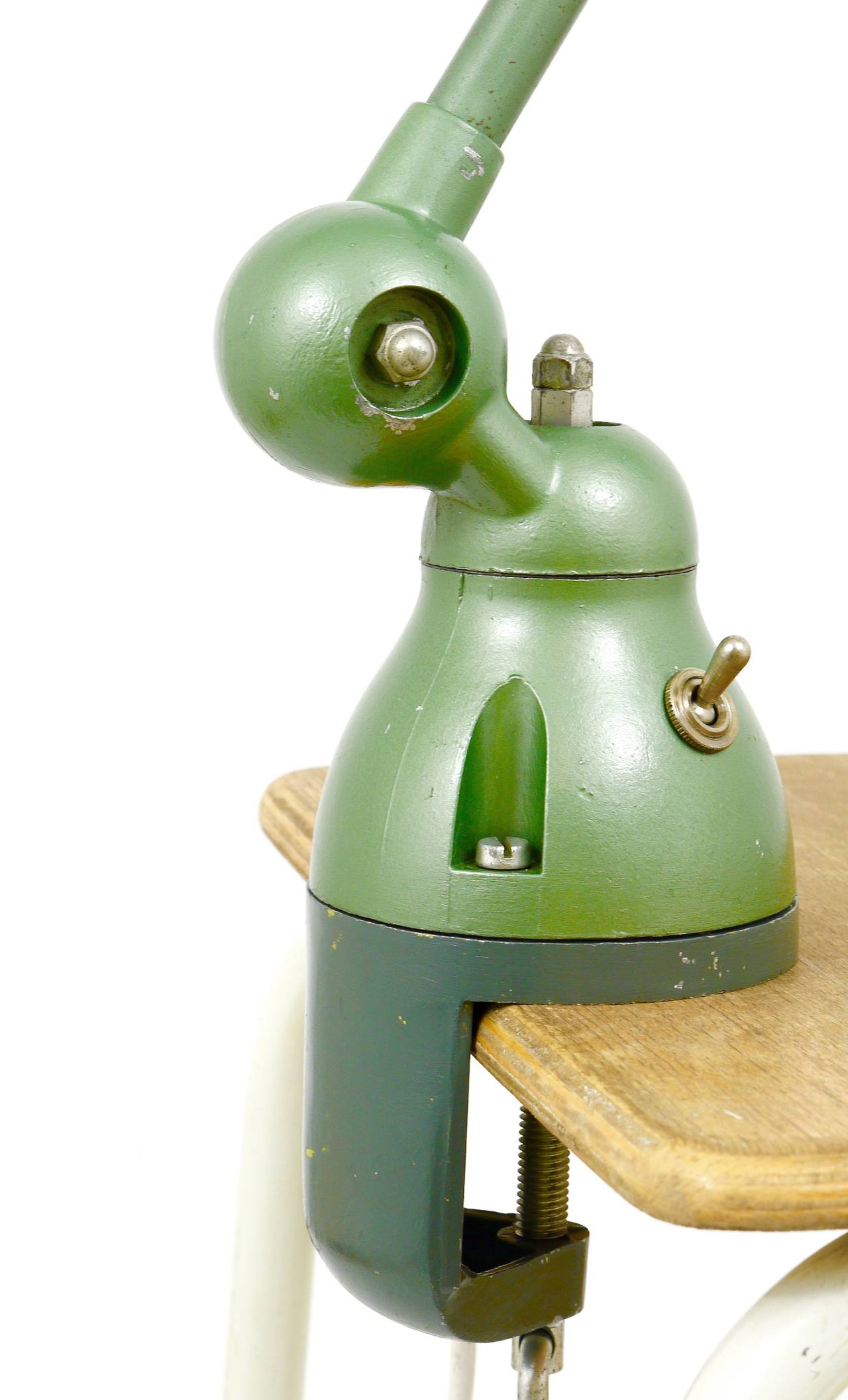 Two Matching Jean Louis Domecq for Jielde Lyon Industrial Clamp Lamps, 1950s For Sale 3