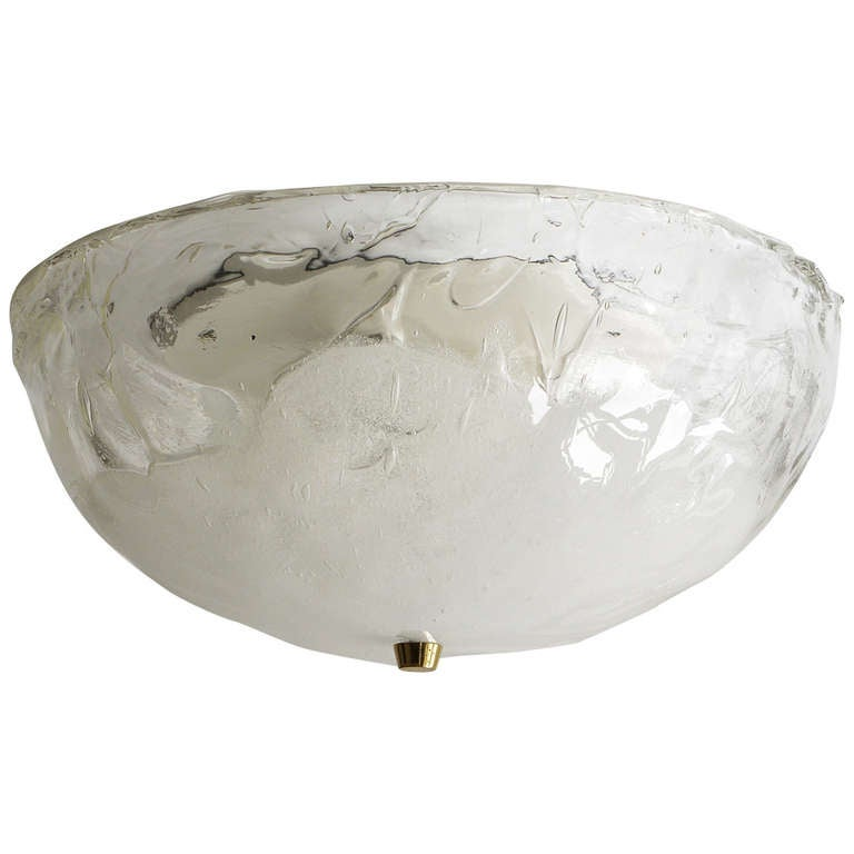 Round Kalmar Mid-Century Flush Mount Ceiling Light,  Melting Glass, 1970s