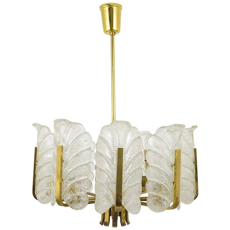 Carl Fagerlund Mid-Century Glass Leaves Brass Chandelier by Orrefors, 1950s For Sale