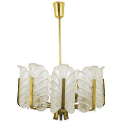 Carl Fagerlund Mid-Century Glass Leaves Brass Chandelier by Orrefors, 1950s