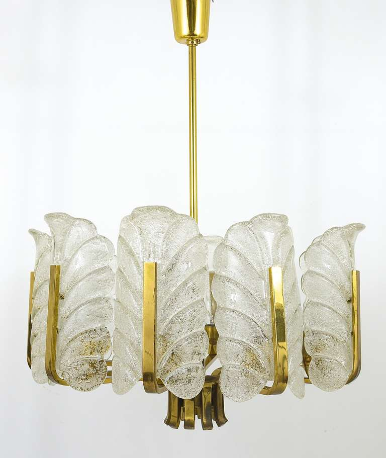 Mid-Century Modern Carl Fagerlund Mid-Century Glass Leaves Brass Chandelier by Orrefors, 1950s For Sale