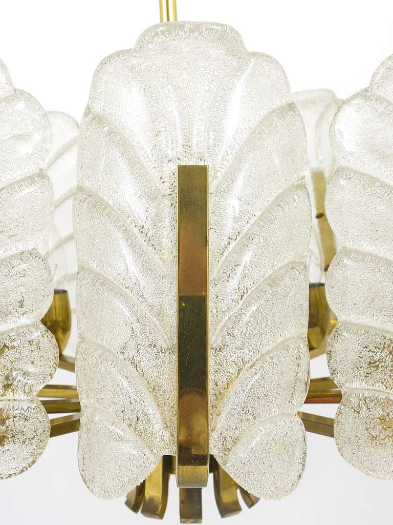 Swedish Carl Fagerlund Mid-Century Glass Leaves Brass Chandelier by Orrefors, 1950s For Sale