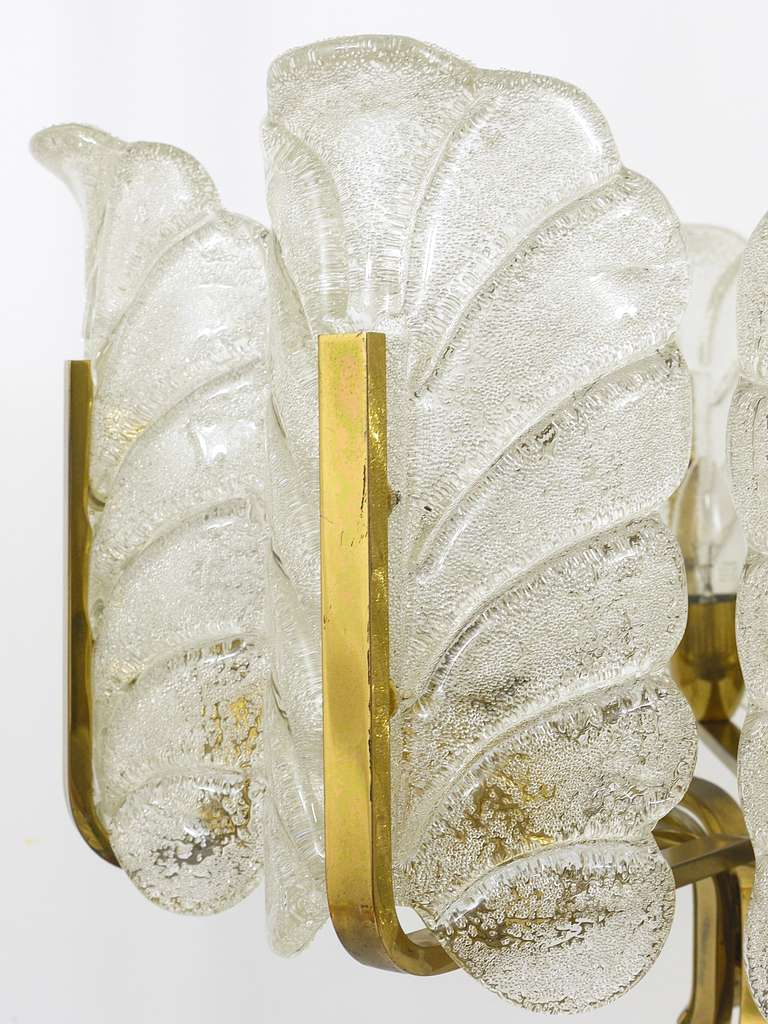 Frosted Carl Fagerlund Mid-Century Glass Leaves Brass Chandelier by Orrefors, 1950s For Sale