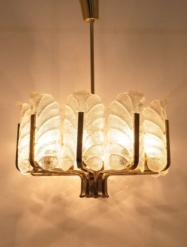 Carl Fagerlund Mid-Century Glass Leaves Brass Chandelier by Orrefors, 1950s For Sale 3