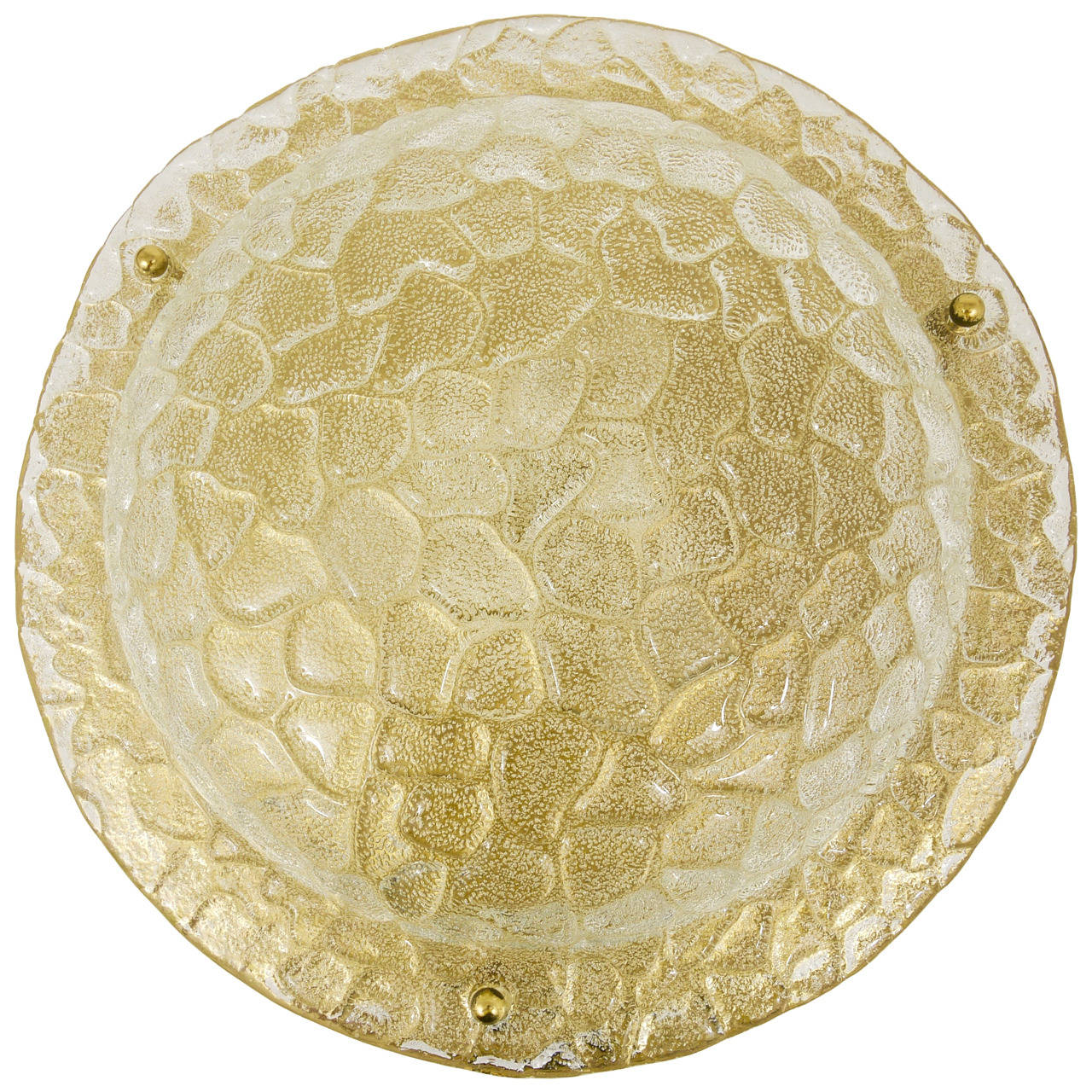 Big Textured Bubble Glass and Brass Flush Mount, Germany, 1970s