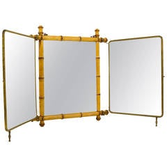 French Faux Bamboo and Brass Triple Vanity Table Mirror or Wall Mirror, 1950s