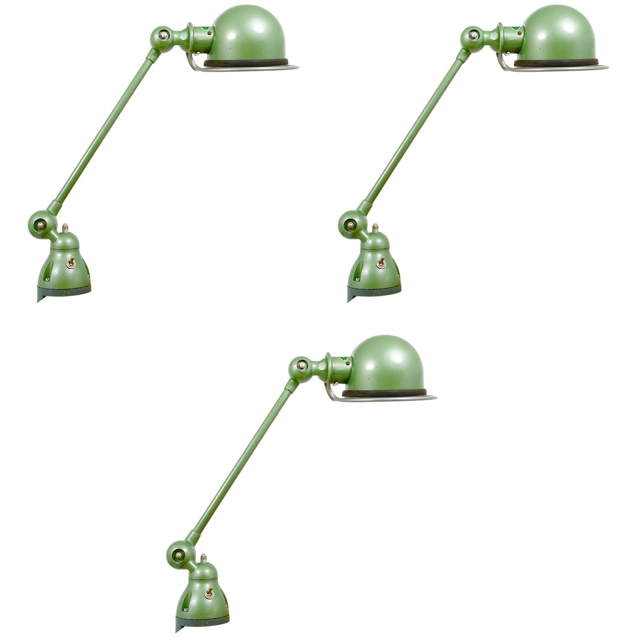 Two Matching Jean Louis Domecq for Jielde Lyon Industrial Clamp Lamps, 1950s