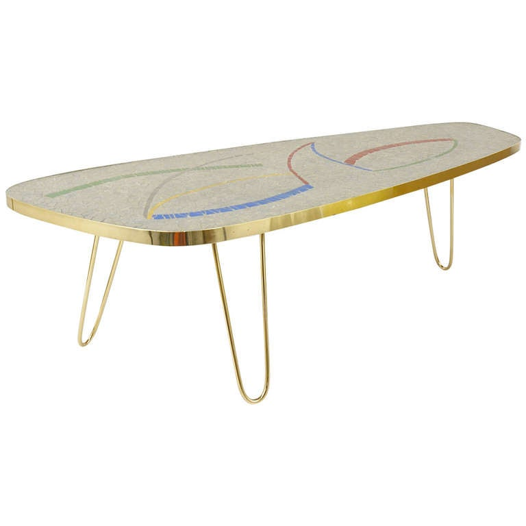 Italian Mid Century Mosaic Tile Coffee Table With Brass Legs 1950s At 1stdibs