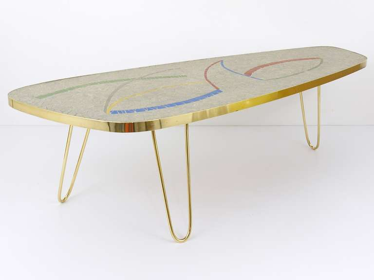 A Beautiful Small Table With Mosaic Top And Charming Br Legs From Italy The