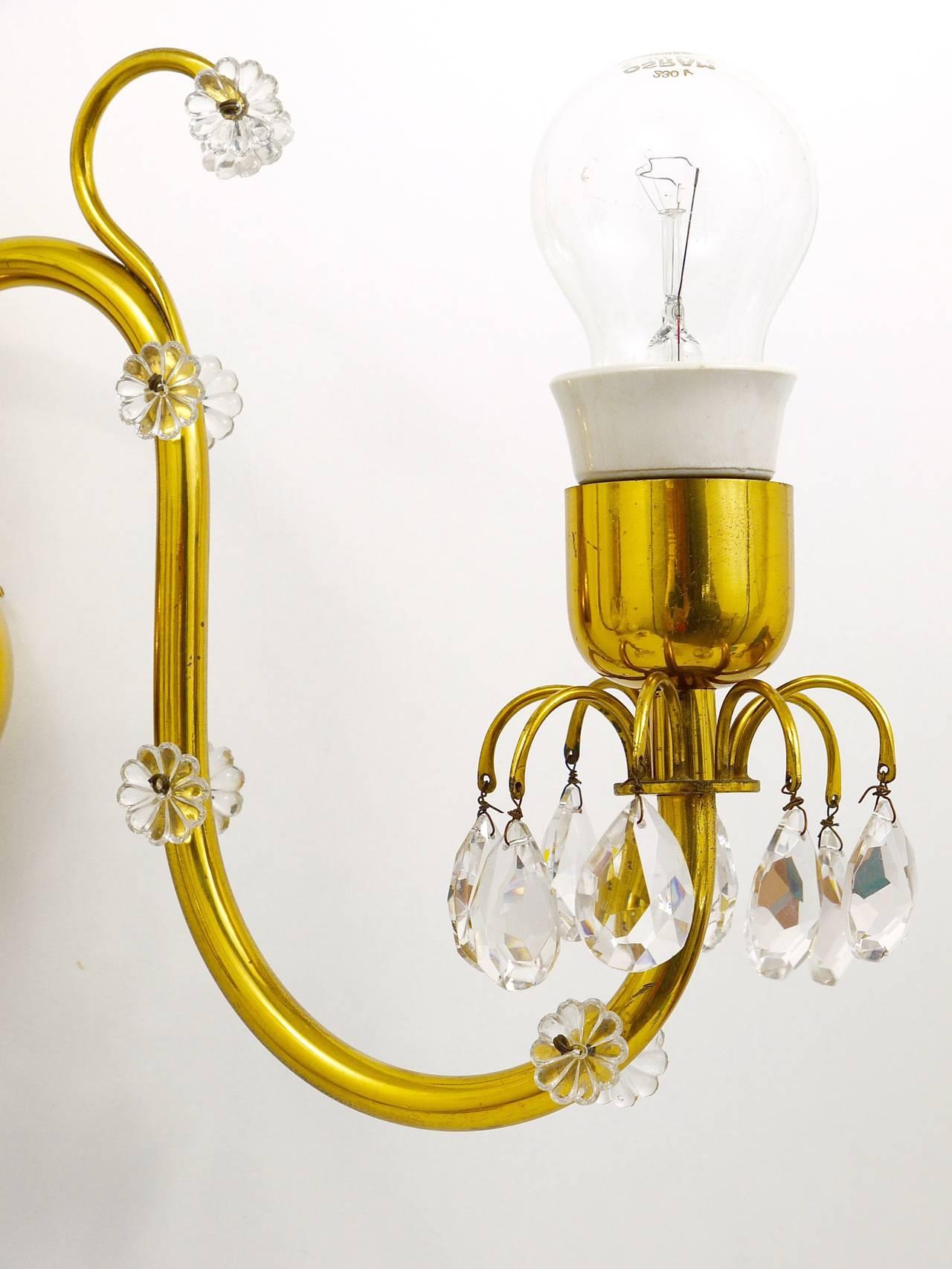 Austrian Beautiful Huge Lobmeyr Vienna Brass Crystal Sconce Wall Light, Austria, 1950s For Sale