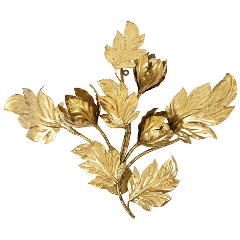 Wall Sconces With Leaves : Big Italian Gilt Metal Leaves Wall Sconce, 1970s, Hollywood Regency Style at 1stdibs