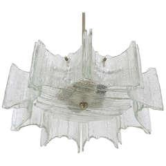 Mid-Century Kalmar Star Frosted Glass Chandelier, Austria 1960s