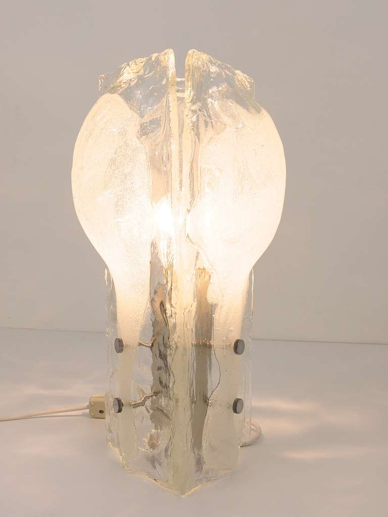 Metal Sculptural Mazzega Murano Melting Glass Table Lamp,  Italy, 1960s For Sale