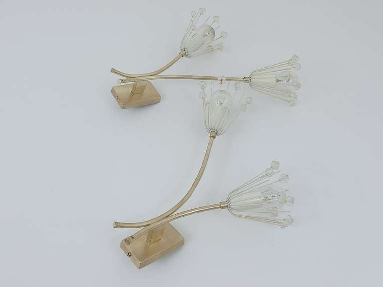 Pair of Silver Plated Emil Stejnar Flower Sconces by Rupert Nikoll, 1950s 3