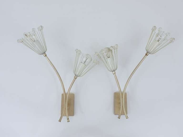 Pair of Silver Plated Emil Stejnar Flower Sconces by Rupert Nikoll, 1950s 2
