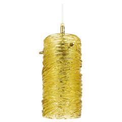 A Mid-Century Kalmar Modernist Glass Tube Brass Pendant Lamp, Austria, 1950s