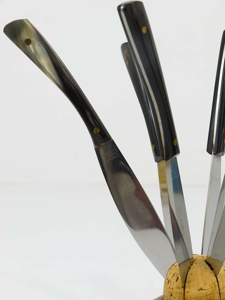 20th Century Carl Aubock Walnut Knife Holder with Six Amboss Knives with Horn Handles, 1950s For Sale