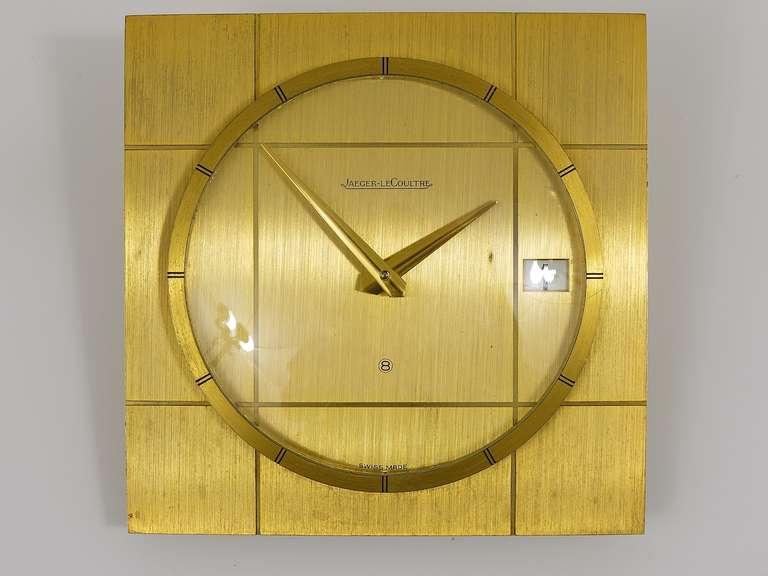 Mid Century Modern Beautiful Jaeger LeCoultre Midcentury Eight Days Brass Desk  Clock, 1960s
