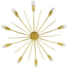 Kalmar Sonne Sun Shaped Modernist Brass Chandelier Flush Mount, Austria, 1950s