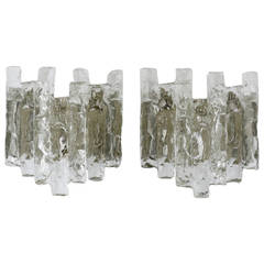 Pair of Kalmar Mid Century Icicle Ice Glass Sconces, Austria, 1960s