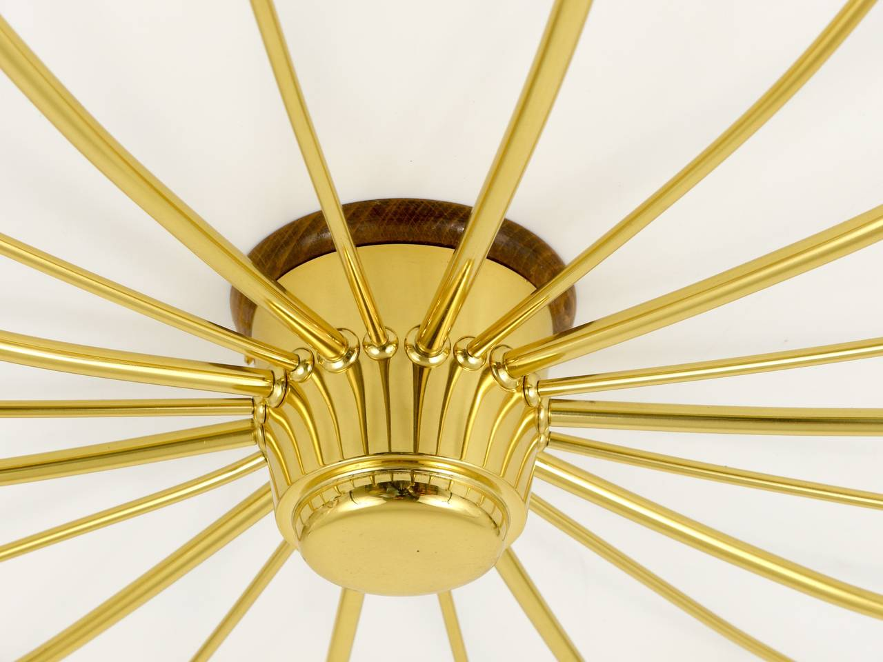 Kalmar Sonne Sun Shaped Modernist Brass Chandelier Flush Mount, Austria, 1950s For Sale 3