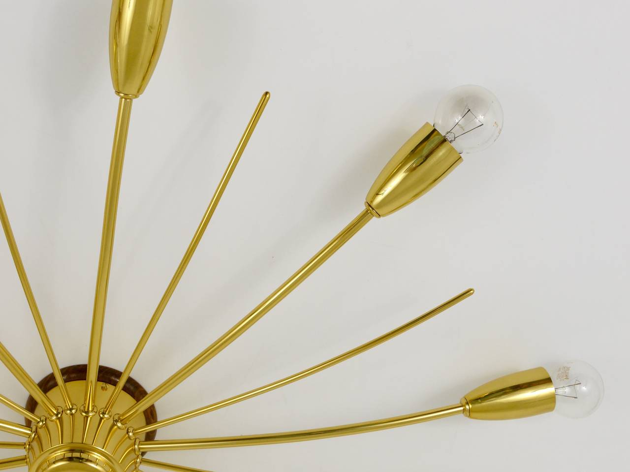 20th Century Kalmar Sonne Sun Shaped Modernist Brass Chandelier Flush Mount, Austria, 1950s For Sale