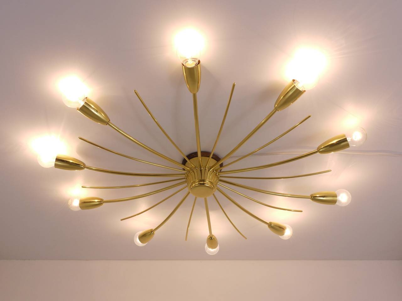 Kalmar Sonne Sun Shaped Modernist Brass Chandelier Flush Mount, Austria, 1950s For Sale 1