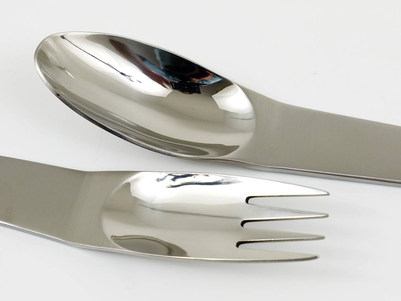 Stainless Steel Austrian Modernist Flatware 2060 by Carl Aubock, Amboss Austria, 1950s For Sale
