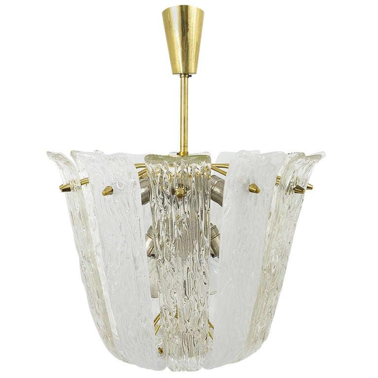 Mid-Century Kalmar Brass Textured Glass Chandelier, Austria, 1950s