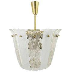 Mid-Century Kalmar Brass Textured Glass Chandelier, Austria, 1950s