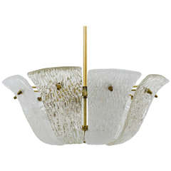 Huge Kalmar Vienna Brass Chandelier with Textured Clear and Frosted Glass