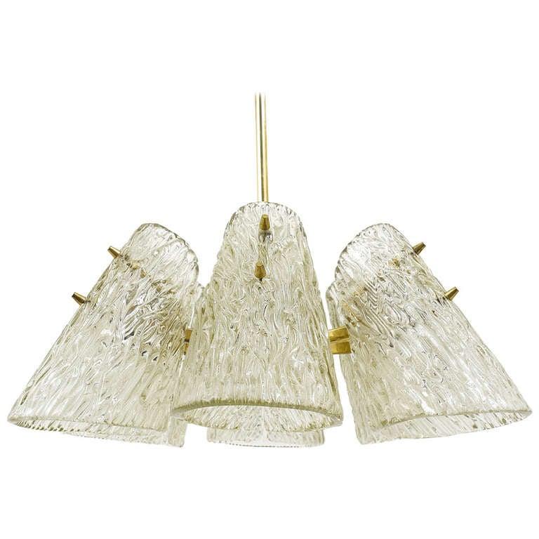 Beautiful Kalmar Brass Chandelier with Textured Glass Cone Lampshades, Austria