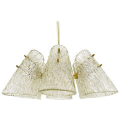 Beautiful Kalmar Brass Chandelier with Textured Glass Cone Lampshades, Austria