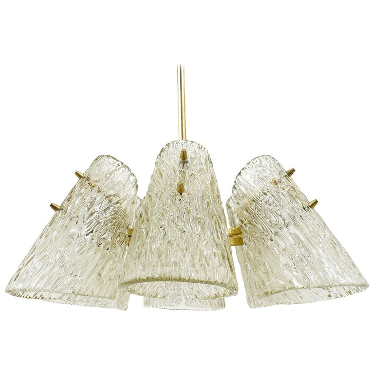 Beautiful Kalmar Brass Chandelier with Textured Glass Cone Lampshades, Austria  For Sale