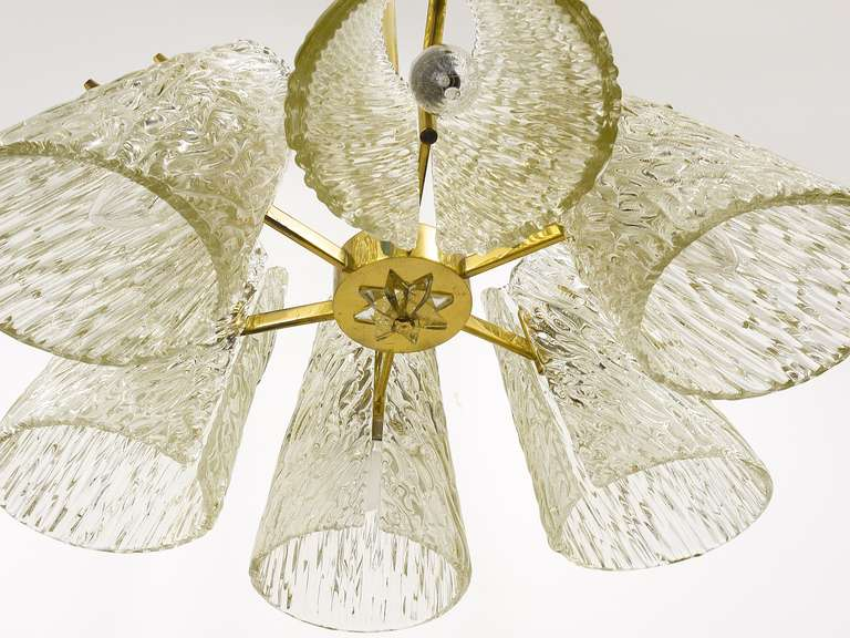 Mid-Century Modern Beautiful Kalmar Brass Chandelier with Textured Glass Cone Lampshades, Austria  For Sale