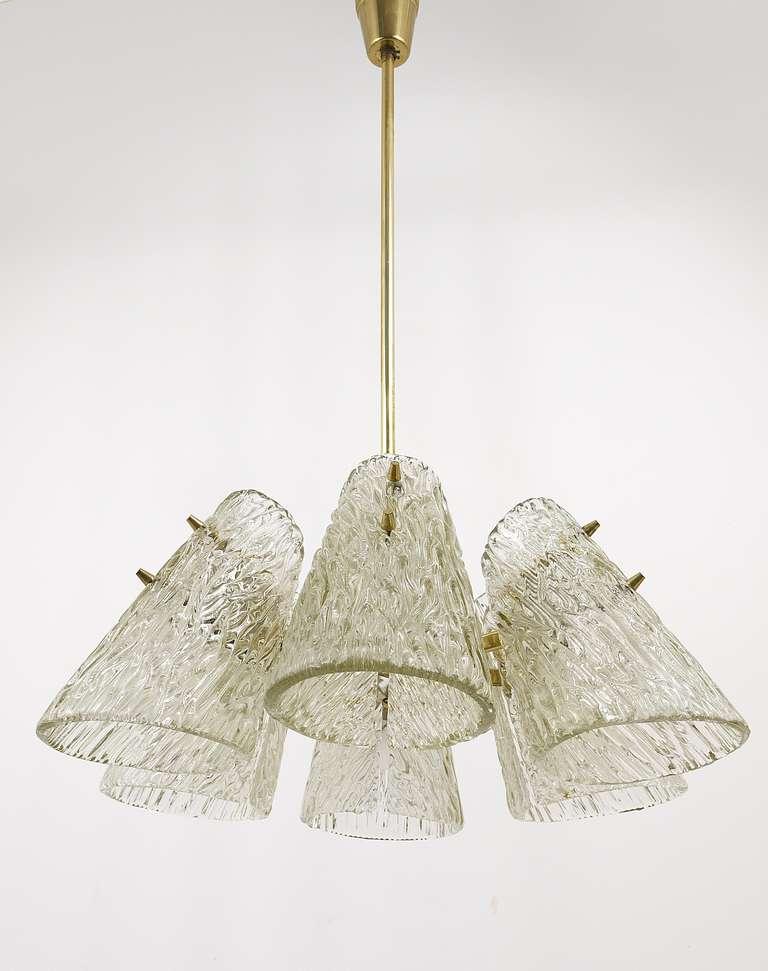 Austrian Beautiful Kalmar Brass Chandelier with Textured Glass Cone Lampshades, Austria  For Sale
