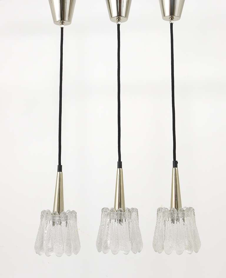 Set Of Three Glass Pendant Lights By Carl Fagerlund For