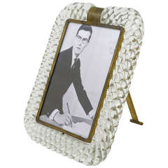 Elegant Venini Twisted Murano Glass Rope Picture Frame, Italy, 1940s