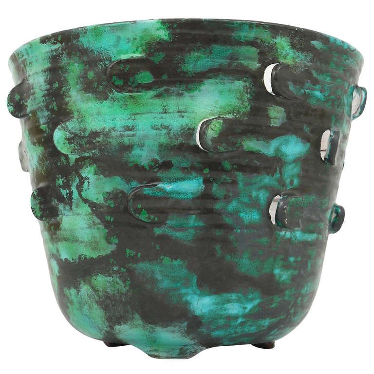 Michael Powolny Viennese Art Nouveau Ceramic Pottery Flower Pot, Austria, 1920s 1