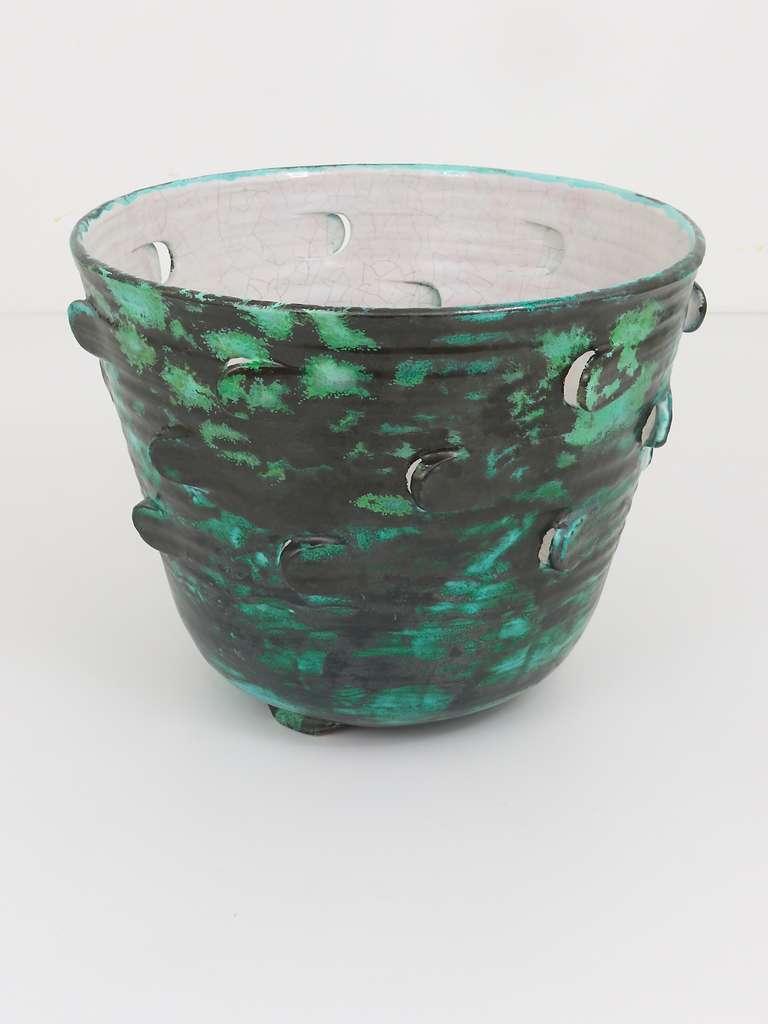 Michael Powolny Viennese Art Nouveau Ceramic Pottery Flower Pot, Austria, 1920s 3