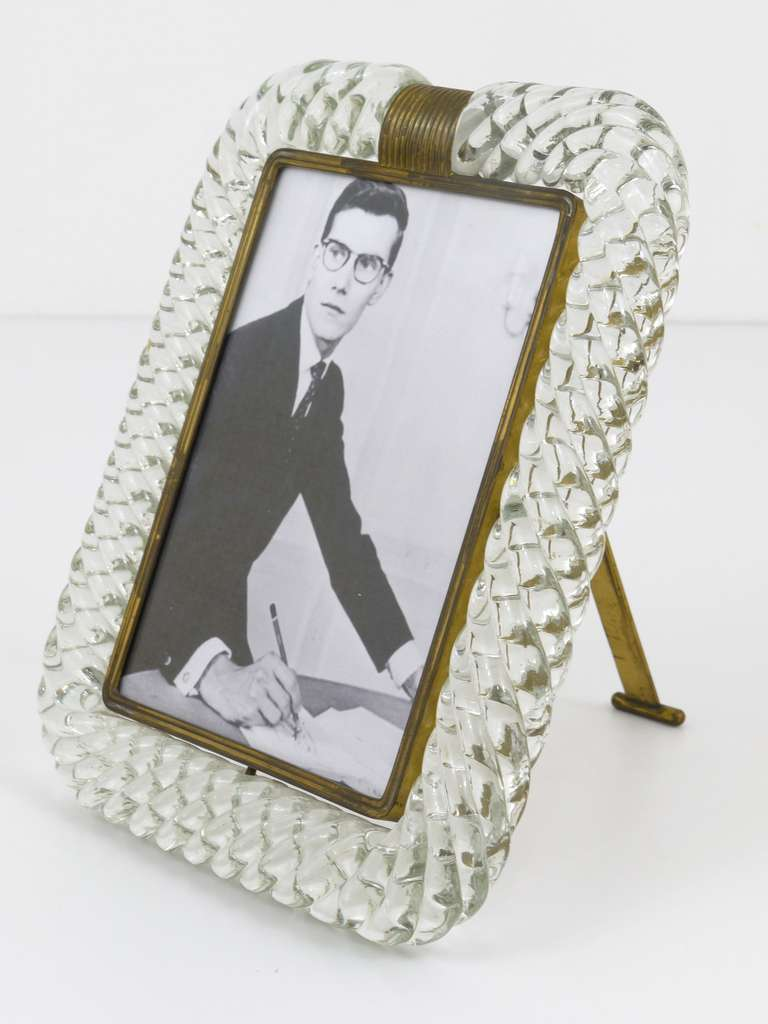 Elegant Venini Twisted Murano Glass Rope Picture Frame, Italy, 1940s ...