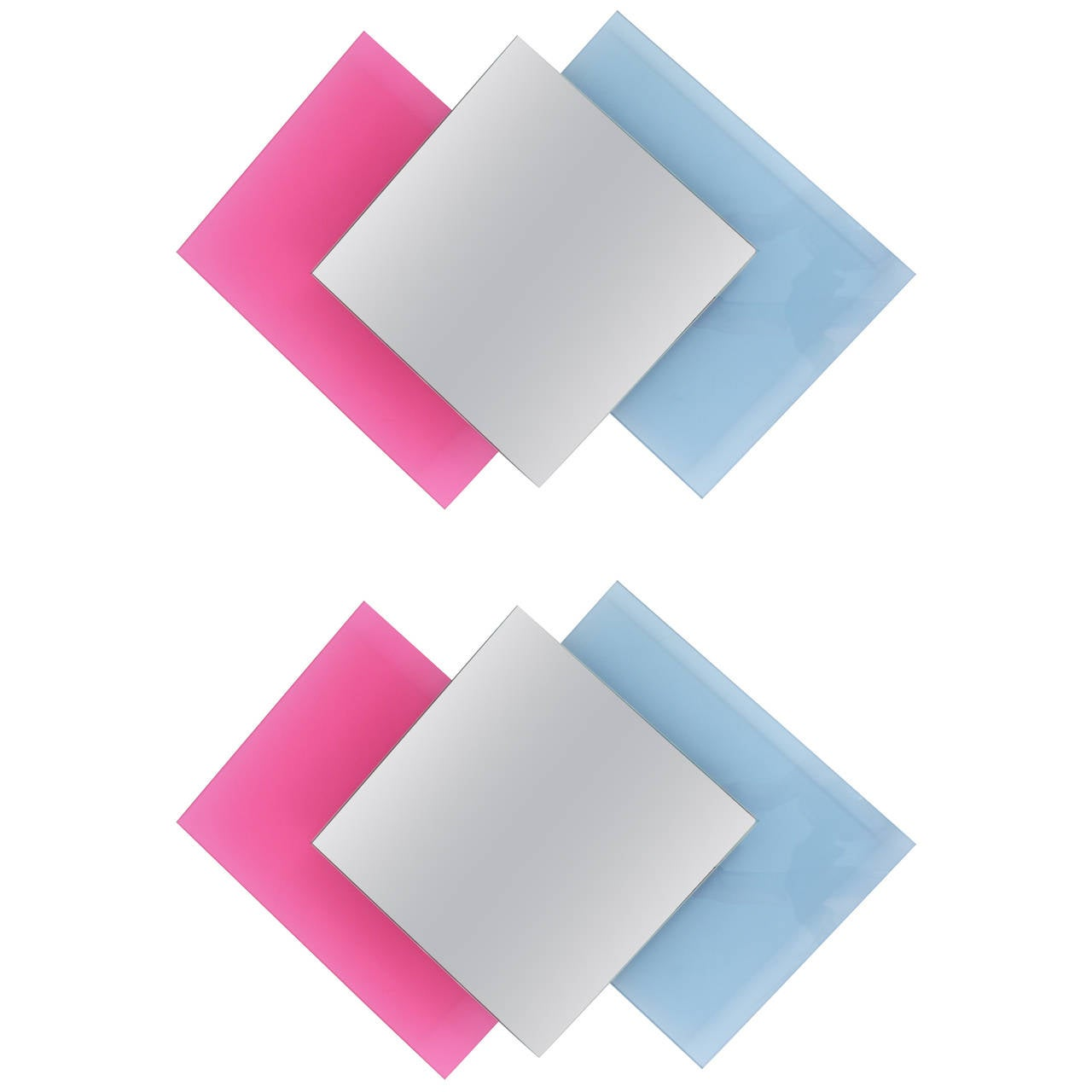 Pair of Colorful Crystal Glass Wall Mirrors, Ettore Sottsass Style, Italy, 1980s