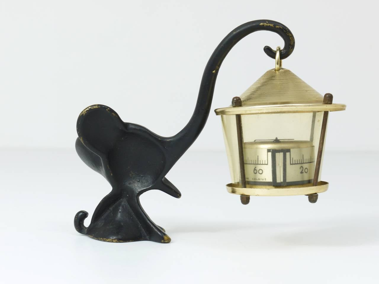 Mid-Century Modern Walter Bosse Elephant Figurine with Thermometer by Hertha Baller, Austria, 1950s For Sale