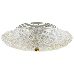 Round Kalmar Mid-Century Flush Mount in Textured Glass, Austria 1960s