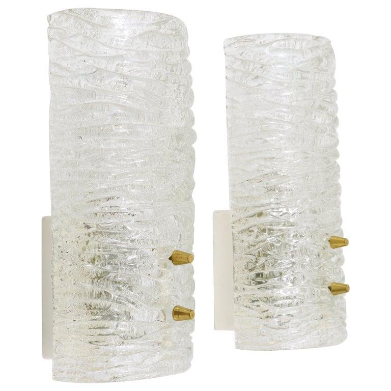 Midcentury Kalmar Brass Textured Glass Sconces Wall Lamps, Austria, 1950s, Pair For Sale